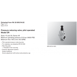 Pressure reducing valve, pilot operated Model DR Sizes 10 and 20, Series 4X