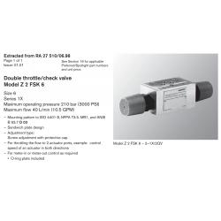 Double throttle/check valve Model Z 2 FSK 6 Size 6 Series 1X
