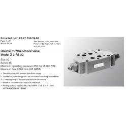 Double throttle/check valve Model Z 2 FS 22 Size 22 Series 3X