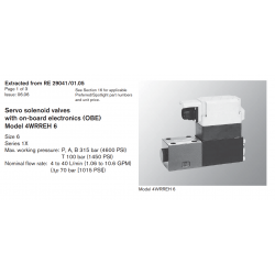 Servo solenoid valves with on-board elec tron ics (OBE) Model 4WRREH 6