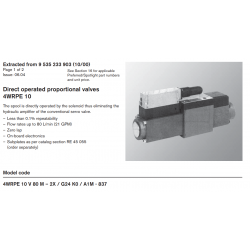 Direct operated proportional valves 4WRPE 10