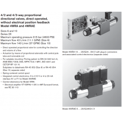 4/2 and 4/3-way proportional directional valves, direct operated, without electrical position feedback Model 4WRA and 4WRAE