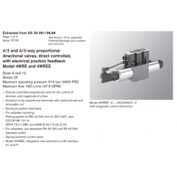 4/2 and 4/3-way proportional directional valves, direct controlled, with electrical position feedback Model 4WRE and 4WREE