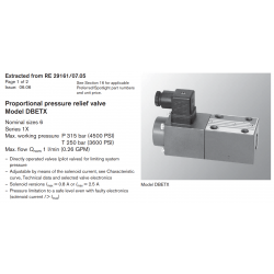 Proportional pressure relief valve Model DBETX