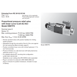 Proportional pressure relief valve with linear curve (Lvdt AC/AC) Model DBETFX