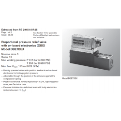 Proportional pressure relief valve with on-board electronics (OBE) Model DBETBEX