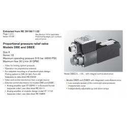 Proportional pressure relief valve Models DBE and DBEE