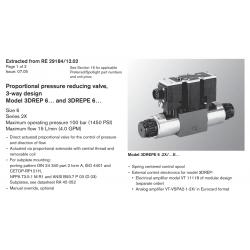 Proportional pressure reducing valve, 3-way design Model 3DREP 6… and 3DREPE 6…