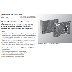 Control of proportional pressure control valves with out electrical position feedback Models VT-VSPA1-1 and VT-VSPA1K-1