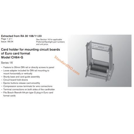 Card holder for mounting circuit boards of Euro card format Model CH64-G Series 1X