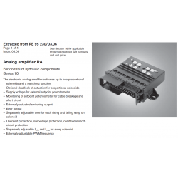 Analog amplifi er RA For control of hydraulic components Series 10