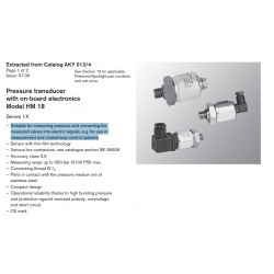 Pressure transducer with on-board electronics Model HM 18 Series 1X