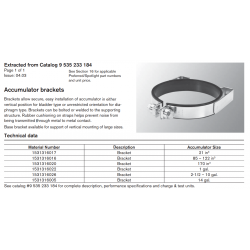 Accumulator brackets. Brackets allow secure, easy installation of accumulator