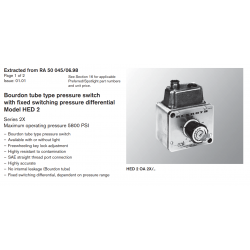 Bourdon tube type pressure switch with fixed switching pressure differential Model HED 2 Series 2X