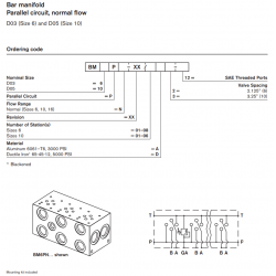 Bar manifold Parallel circuit, normal flow D03 (Size 6) and D05 (Size 10)