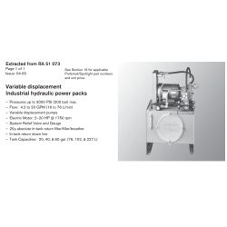 Variable displacement Industrial hydraulic power packs