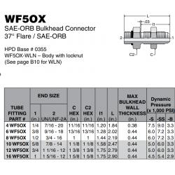 WF5OX SAE-ORB Bulkhead Connector 37° Flare / SAE-ORB