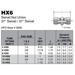 HX6 Swivel Nut Union 37° Swivel / 37° Swivel