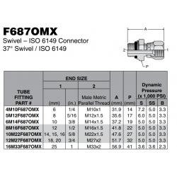 F687OMX Swivel – ISO 6149 Connector 37° Swivel / ISO 6149