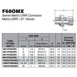 F68OMX Swivel Metric ORR Connector Metric-ORR / 37° Swivel
