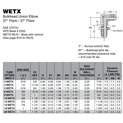WETX Bulkhead Union Elbow 37° Flare / 37° Flare