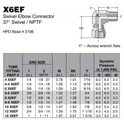 X6EF Swivel Elbow Connector 37° Swivel / NPTF