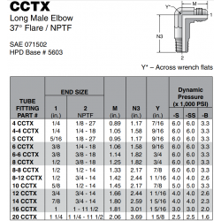 CCTX Long Male Elbow 37° Flare / NPTF