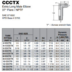 CCCTX Extra Long Male Elbow 37° Flare / NPTF