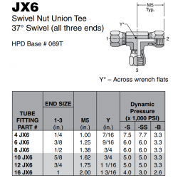 JX6 Swivel Nut Union Tee 37° Swivel (all three ends)
