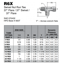 R6X Swivel Nut Run Tee 37° Flare / 37° Swivel / 37° Flare