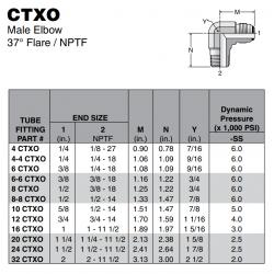 CTXO Male Elbow 37° Flare / NPTF