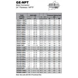 GE-NPT Male Connector 24° Flareless / NPTF
