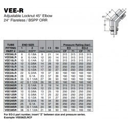 VEE-R Adjustable Locknut 45° Elbow 24° Flareless / BSPP ORR