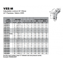 VEE-M Adjustable Locknut 45° Elbow 24° Flareless / Metric ORR