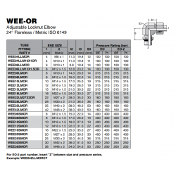 WEE-OR Adjustable Locknut Elbow 24° Flareless / Metric ISO 6149