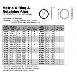 Metric O-Ring & Retaining Ring For ISO 9974-1 / DIN 3852-1Port