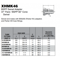 XHMK46 BSPP Swivel Adapter 37° Flare / BSPP 60° Cone Swivel