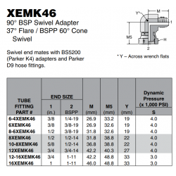 XEMK46 90° BSP Swivel Adapter 37° Flare / BSPP 60° Cone Swivel
