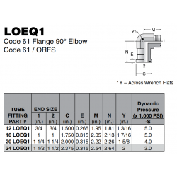 LOEQ1 Code 61 Flange 90° Elbow Code 61 / ORFS