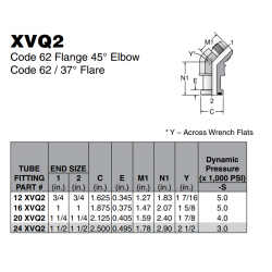 XVQ2 Code 62 Flange 45° Elbow Code 62 / 37° Flare
