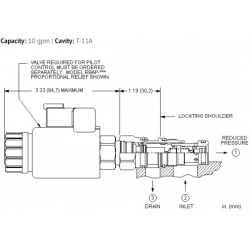 PBDB8WN Pilot operated, pressure reducing main stage with integral T-8A control cavity