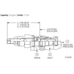PBDFLAN Pilot operated, pressure reducing valve with drilled piston orifice