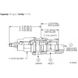 PBHFLAN Pilot operated, pressure reducing valve with drilled piston orifice