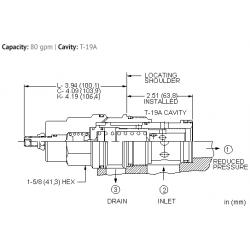 PBJFLAN Pilot operated, pressure reducing valve with drilled piston orifice
