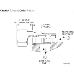 CNACXCN Fixed orifice, non-pressure compensated, flow control valve with reverse flow check