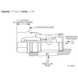 CNICXCN Fixed orifice, non-pressure compensated, flow control valve with reverse flow check