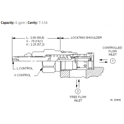 FCCBXAN Fixed orifice pressure compensated flow control valve with reverse flow check