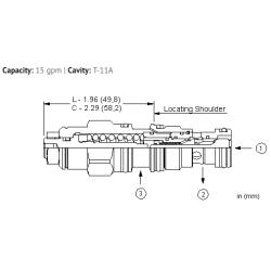 CBCBLHN 1.5:1 pilot ratio, standard capacity counterbalance valve