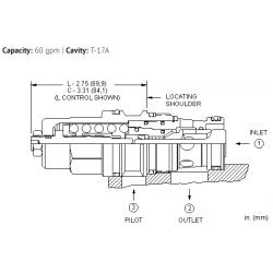 CBGBLHN 1.5:1 pilot ratio, standard capacity counterbalance valve