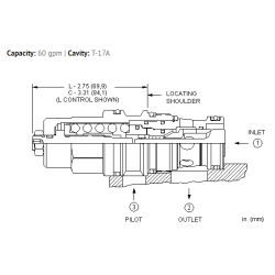 CBGYLHN 2:1 pilot ratio, standard capacity counterbalance valve